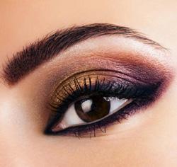 Макияж Фиолетовый и медно-золотой