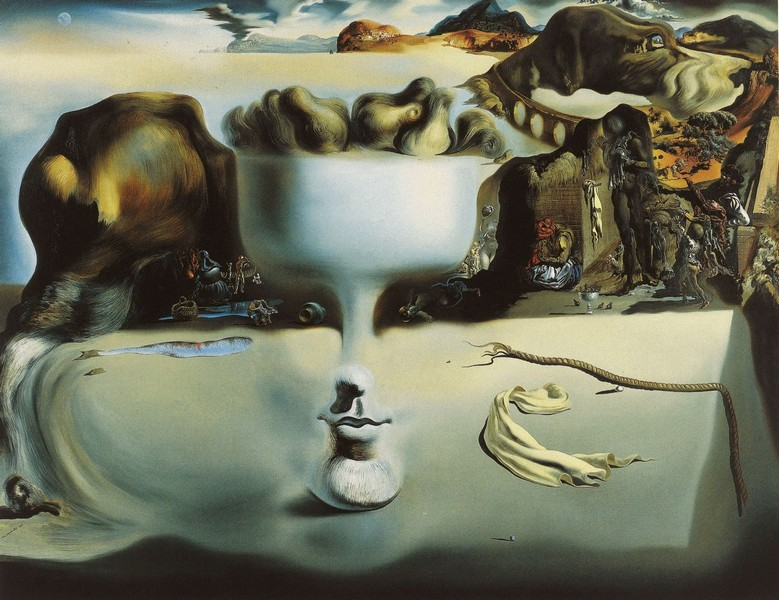 Salvador Dali (Spanish, 1904-1989). Apparition of a Face and Fruit Dish on a Beach, 1938. Oil on canvas. 45 x 57 in. (114.3 x 144.8 cm). The Wadsworth Atheneum, Hartford.
