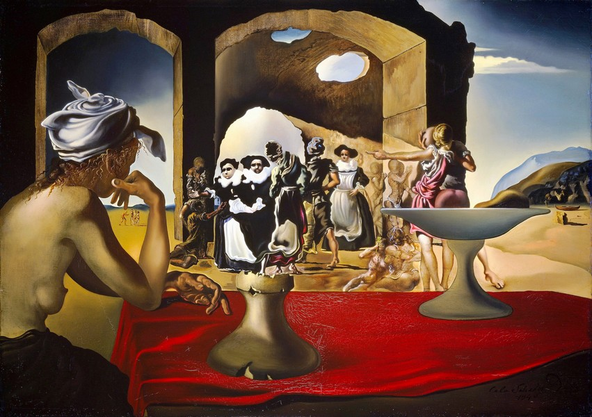 Slave market with apparition of the invisible bust of Voltaire 1940 oil on canvas 46.4 x 55.2 cm The Salvador Dalí Museum, St Petersburg, Florida