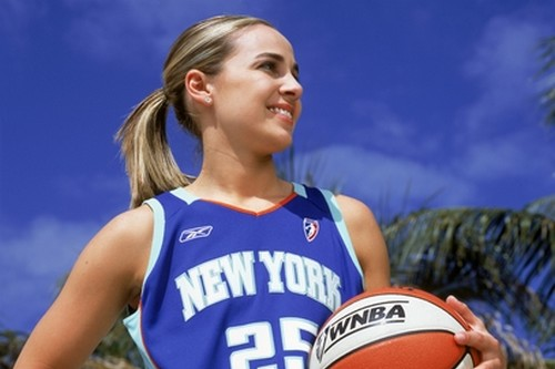 "NEW YORK - MARCH 11:  Becky Hammon #25 of the New York Liberty poses for a photograph during the WNBA ""This Is Who I Am"" campaign on March 11, 2004 in New York City, New York.  NOTE TO USER: User expressly acknowledges and agrees that, by downloading and/or using this Photograph, User is consenting to the terms and conditions of the Getty Images License Agreement.  Mandatory Copyright Notice: Copyright 2004 NBAE (Photo by Jennifer Pottheiser/NBAE via Getty Images)"